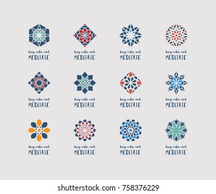 """Yoga ornamental emblems set. Vector geometric symbols with """"Keep Calm and Meditate"""" typography. Graphic templates for relax or spa center, yoga studio, healthcare and traditional medicine"""