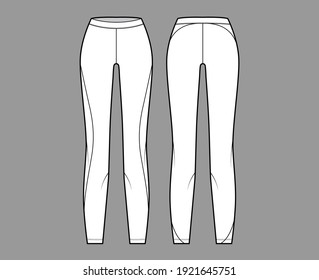 Yoga pants Leggings technical fashion illustration with low waist, rise, full length. Flat sport training, bottom knit trousers apparel template front, back, white color. Women men unisex CAD mockup
