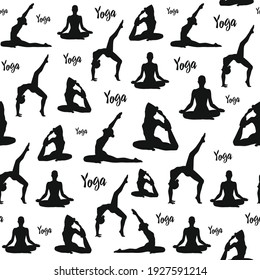 Yoga pattern. Yoga poses, lotus, meditation. Black silhouettes excluded on a white background. Backdrop for t-shirts, fabrics, graphics, wallpapers, web, posters, prints.