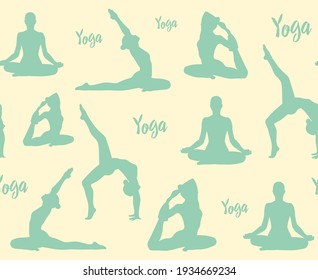 Yoga pattern. Yoga poses, lotus, meditation. Silhouettes on a yellow background. Background for T-shirts, fabric, graphics, wallpapers, cobwebs, posters, prints.