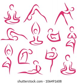 yoga, pilates big set of vector symbols