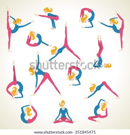 Yoga Pose Asana Set Vector Background Stock Vector Royalty Free