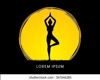 Yoga pose designed using grunge brush on moonlight background graphic vector.