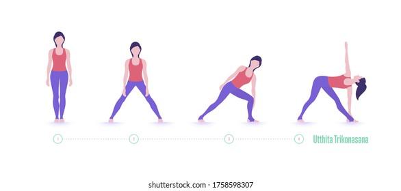Yoga pose. Extended Triangle Pose-Utthita Trikonasana. Exercise step by step