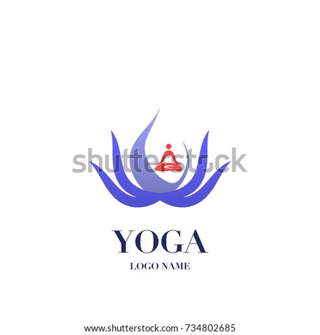 Yoga Pose Lotus Flower On Background Stock Vector Royalty Free