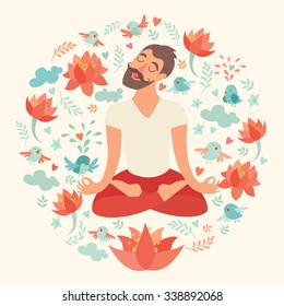 Yoga pose, lotus position. Men's yoga. Mustached bearded man in the lotus position. Vector illustration isolated on ivory background. Lotus flowers. Concept of yoga, fitness, relax, meditation.