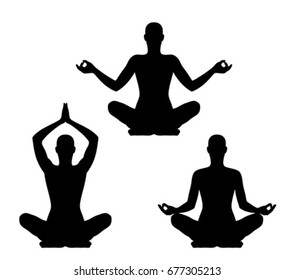 Yoga pose set on a white background