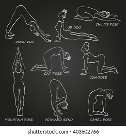 Yoga pose set vector illustration.Woman in nine different asanas. Black and white gradient background, linear graphic. Easy to scale.