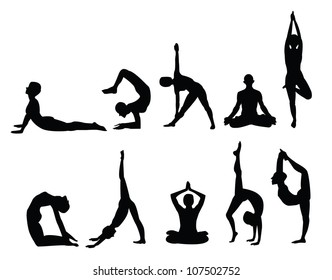 yoga pose silhouettes, in various poses. Vector format.