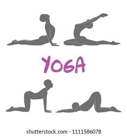 Yoga pose silhouettes. Vector illustration
