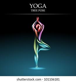 Yoga pose, Tree, eps10 vector