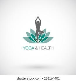Yoga pose vector logo design template. Beauty, Spa, Relax, Massage, Meditation,concept icon.