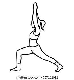 Yoga poses (asana, poses, postures) Vector Flat Outlines
