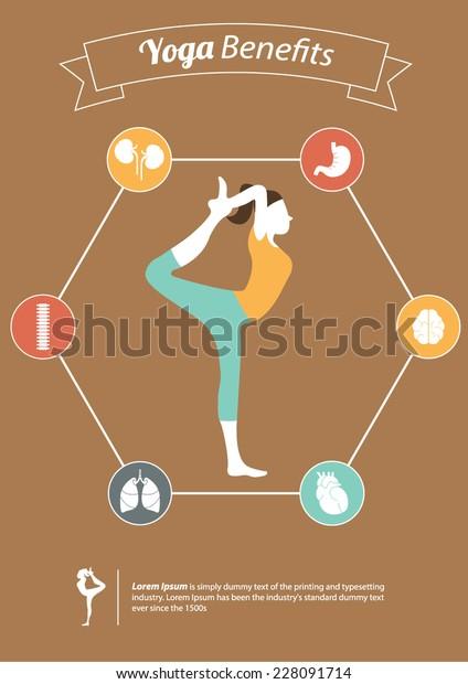 Yoga Poses Yoga Benefits Flat Design Stock Vector Royalty Free 228091714