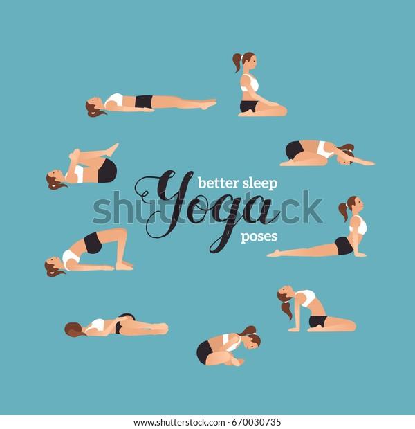Yoga Poses Better Sleep Vector Illustrations Stock Vector Royalty Free 670030735
