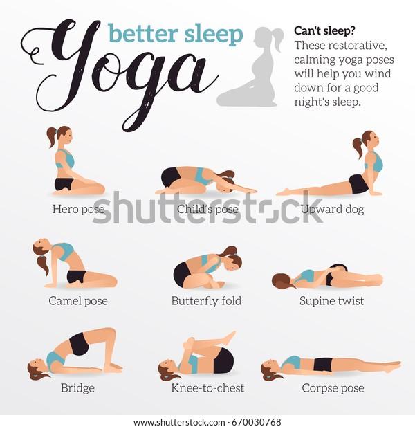 Yoga Poses Better Sleep Vector Illustrations Stock Vector Royalty Free 670030768