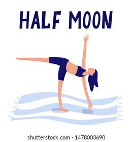 half moon pose images stock photos  vectors  shutterstock