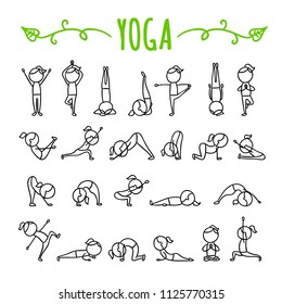 Yoga poses hand drawn icons. Yoga asanas symbols. Gymnastics exercises, stretching and meditation. Healthy lifestyle sport illustrations