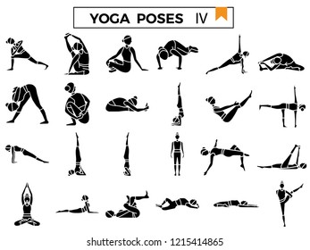 Yoga poses icon set.