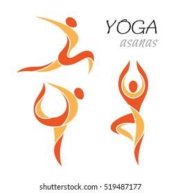 Yoga poses. Icons set.