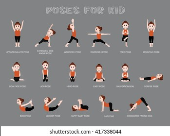 Yoga Poses For Kid Vector Illustration