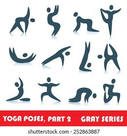 Yoga poses logo abstract people vector icons, part 2, gray series