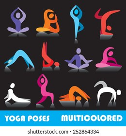 Yoga poses logo abstract people vector icons, part 1, multicolored series