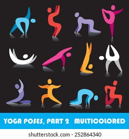 Yoga poses logo abstract people vector icons, part 2, multicolored series