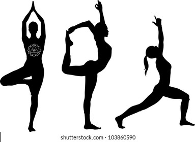 Yoga poses:  lord of the dance, warrior I and tree pose. Black icon set.