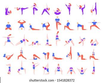 Yoga poses people. People doing yoga exercise, young man and woman yoga community vector illustration set. Meditation, balance training and relaxation asanas isolated on white background