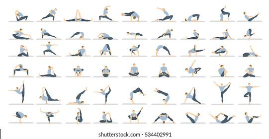 Yoga poses seton white background. Relax and meditate. Healthy lifestyle. Balance training.