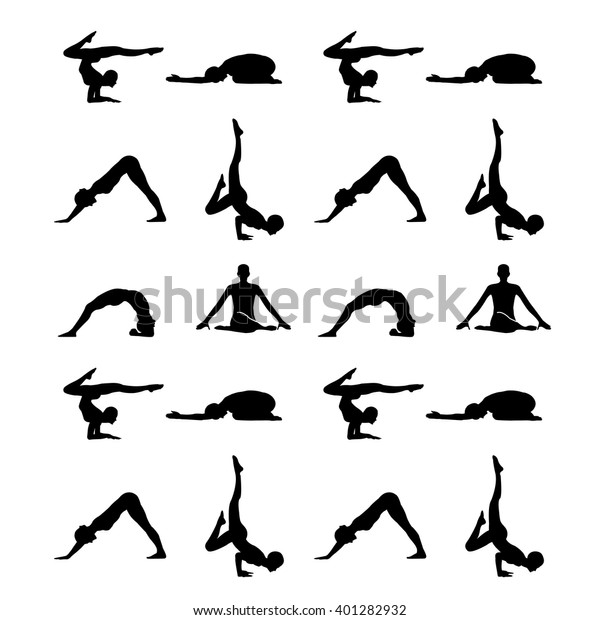 Yoga Poses Silhouette Wallpaper Stock Vector Royalty Free 401282932
