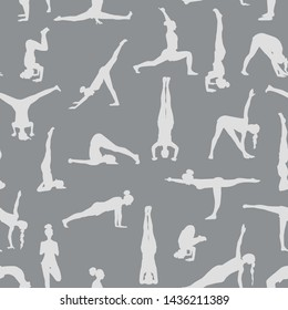 Yoga poses silhouettes seamless pattern. Vector gray background