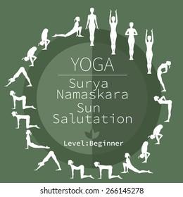 yoga poses, Surya Namaskara, beginner level
