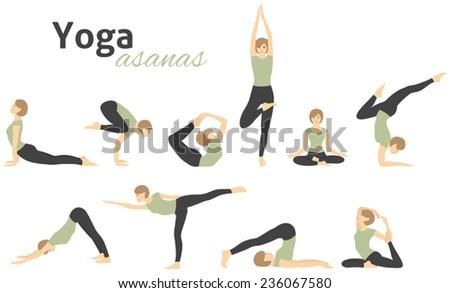 yoga poses vector illustration stock vector royalty free