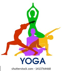 Yoga poses woman's silhouette.  Balance Yoga studio logo. Vector illustration