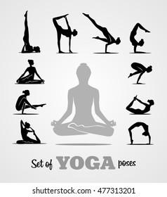 Yoga poses and workouts positions set. Yoga exercises. Women silhouettes set. Black and white illustration.