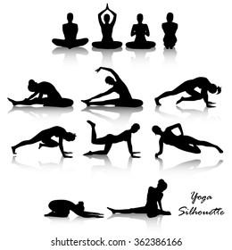 Yoga position silhouette set