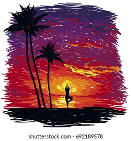 yoga practice on the beach, tropical sunset, sketch style vector illustration