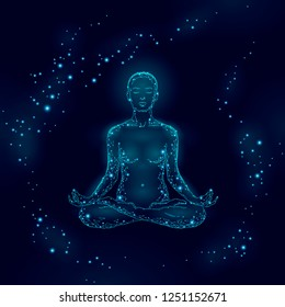 Yoga practice woman in lotus position low poly silhouette. Polygonal yoga relaxation exercise wellness class.Dark blue night chakra points. Buddhism esoteric Kundalini energy vector illustration