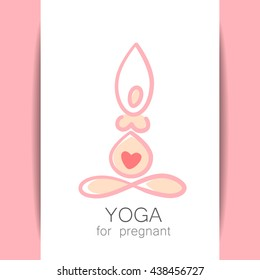 Yoga for pregnant. Concept Logo design tempate. Idea for emblem and logotype for Yoga studio and classes for pregnant women. Vector graphic illustration.
