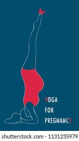 Yoga for pregnant women. Asana for pregnant women. Color vector silhouette of pregnant women practicing yoga. Logo for banner, advertising, poster,linear design