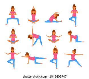 Yoga for pregnant women in flat style. Set of characters isolated on white background. Vector Illustration eps 10