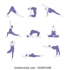 Yoga for pregnant women. Set of 9 yoga poses for pregnant women - vector illustration. isolated.