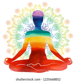 Yoga rainbow watercolor Silhouette, relaxation and meditation. Watercolor Silhouette, vector illustration