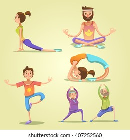 Yoga retro cartoon set with men and women in different poses isolated vector illustration