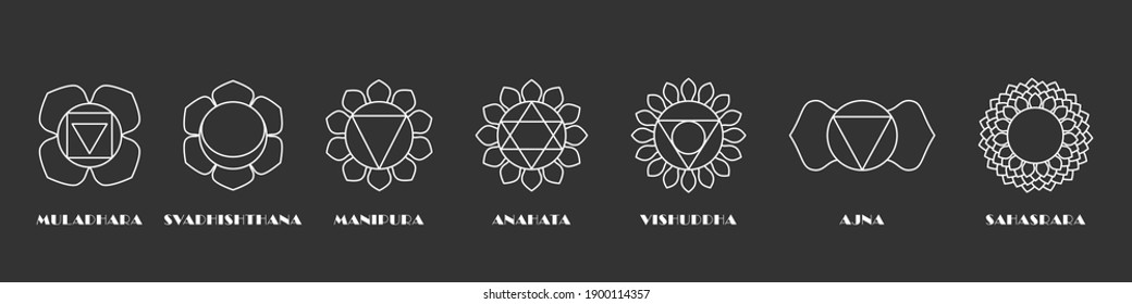 Yoga sacral chakras set. Esoteric energy muladhara and health nature light anahata spiritual heal svadhisthana with mind warming rays manipura made with white lines on black vector space.