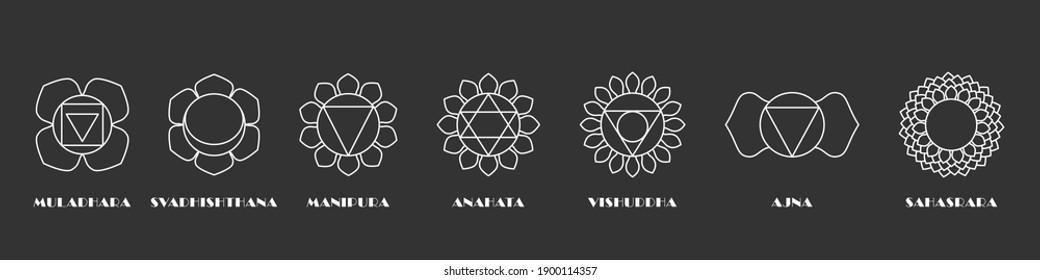 Yoga sacral chakras set. Esoteric energy muladhara and health nature light anahata spiritual heal svadhisthana with mind warming rays manipura made with white lines on black vector space.