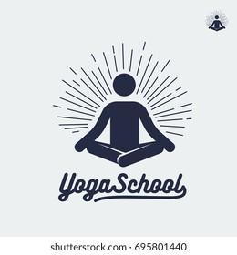 Yoga school logo, person sign in lotus pose.