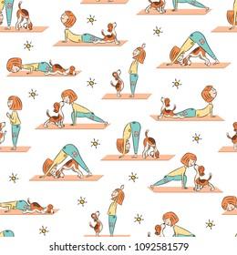 Yoga seamless pattern with cartoon girl and dog doing yoga position of Surya Namaskara. San Salutation. Beagle vector illustration